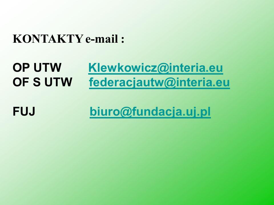 KONTAKTY e-mail : OP UTW Klewkowicz@interia.eu.