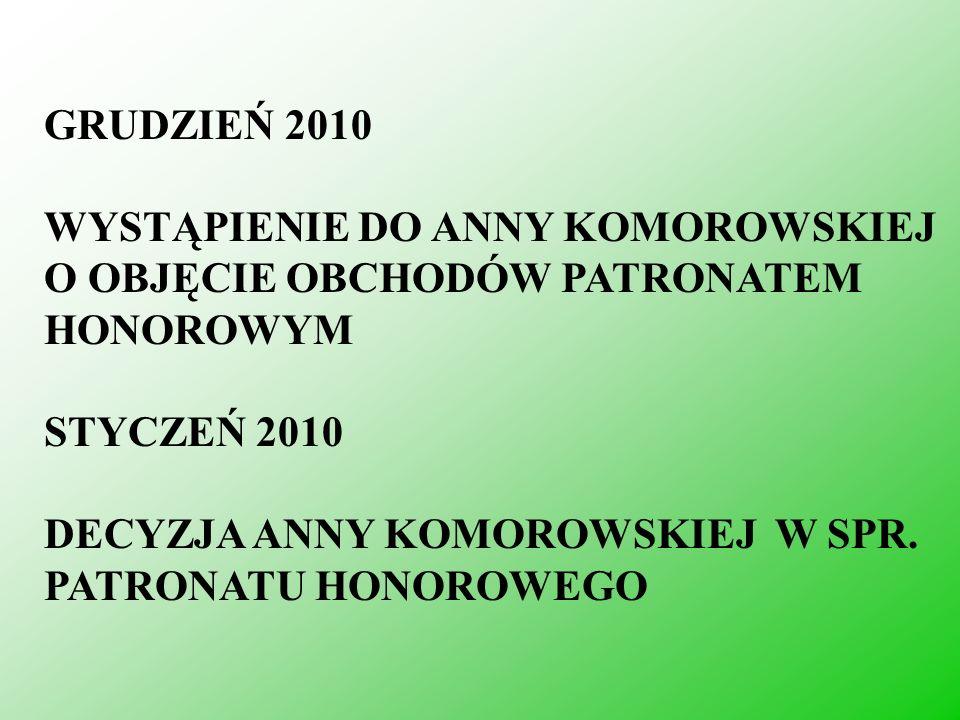 GRUDZIEŃ 2010WYSTĄPIENIE DO ANNY KOMOROWSKIEJ O OBJĘCIE OBCHODÓW PATRONATEM HONOROWYM. STYCZEŃ 2010.