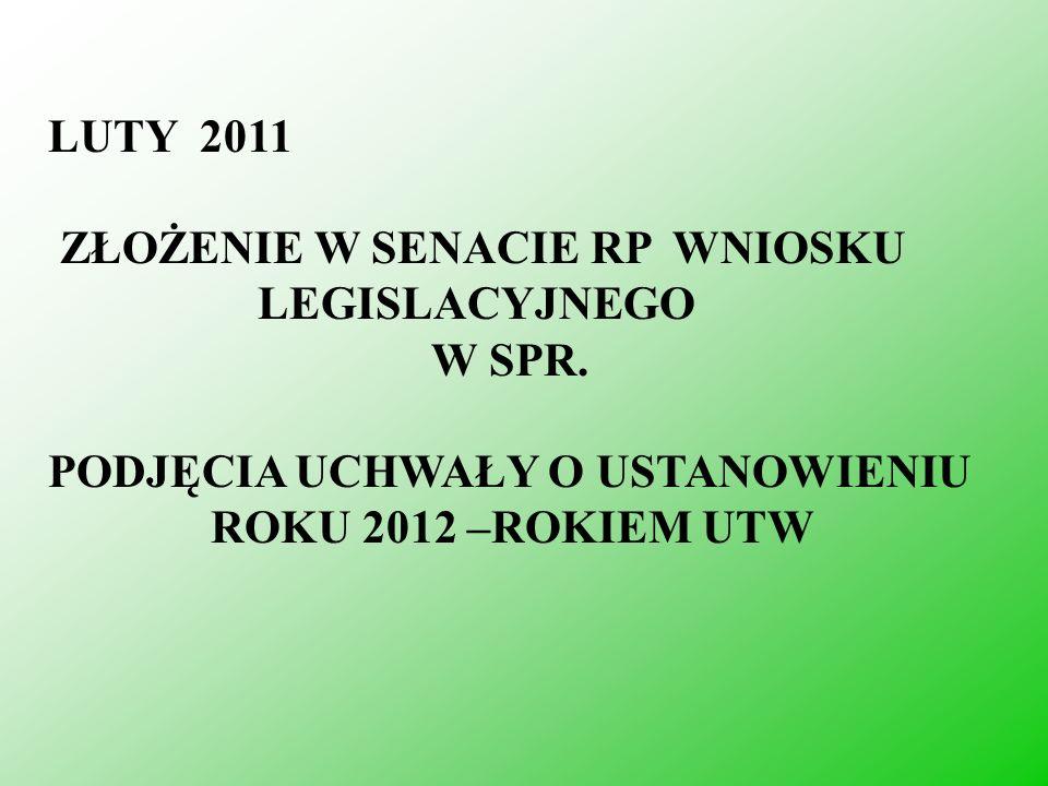 LUTY 2011 ZŁOŻENIE W SENACIE RP WNIOSKU. LEGISLACYJNEGO. W SPR. PODJĘCIA UCHWAŁY O USTANOWIENIU.