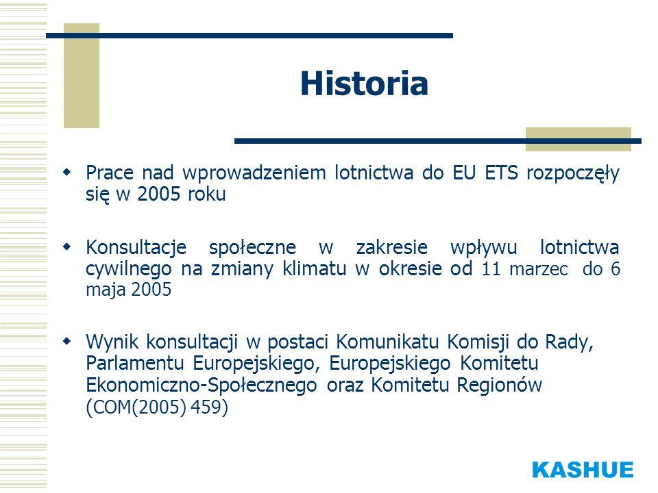 Historia Prace nad wprowadzeniem lotnictwa do EU ETS rozpoczęły się w 2005 roku.