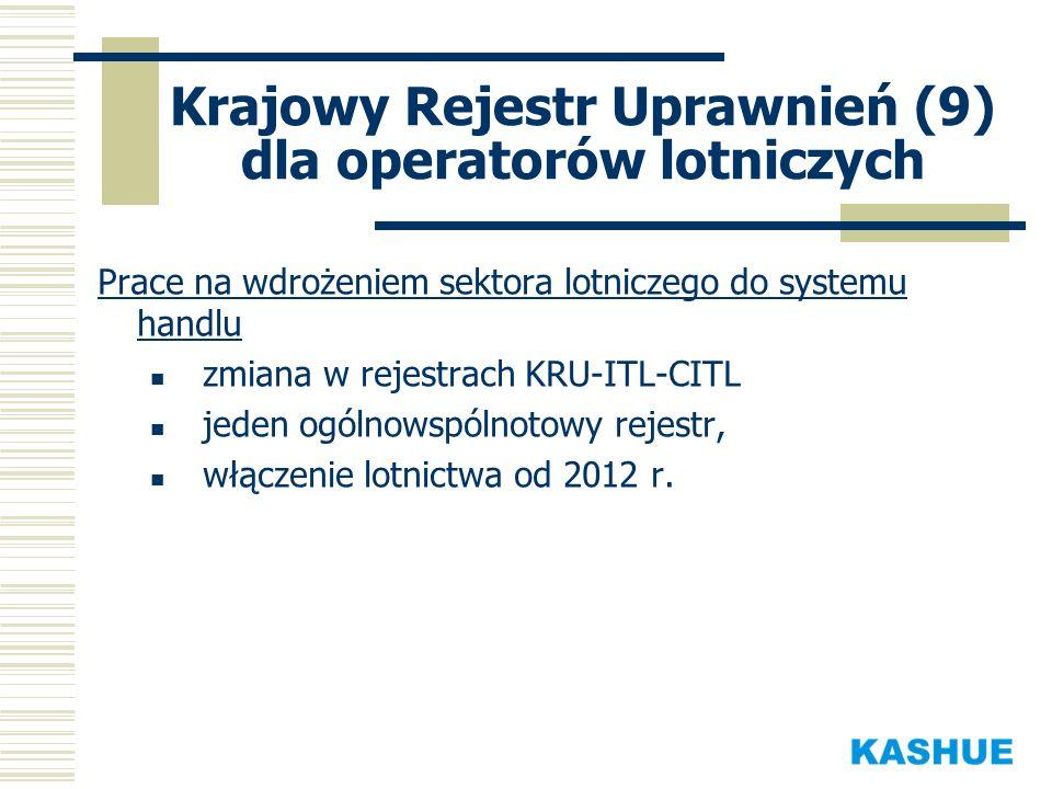 Krajowy Rejestr Uprawnień (9) dla operatorów lotniczych