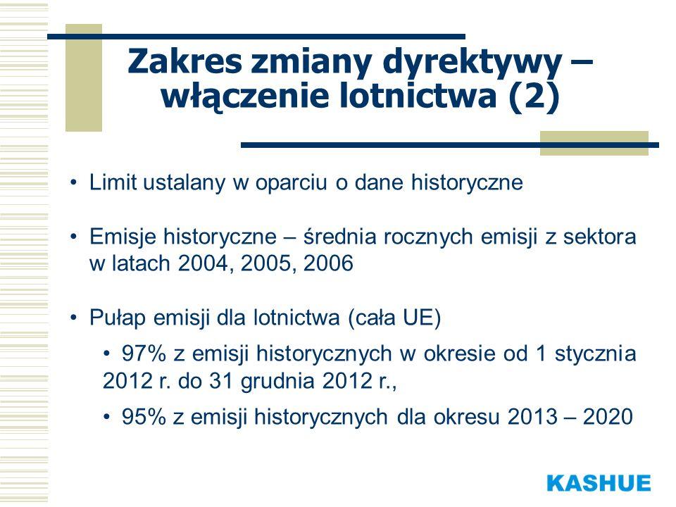 Zakres zmiany dyrektywy – włączenie lotnictwa (2)