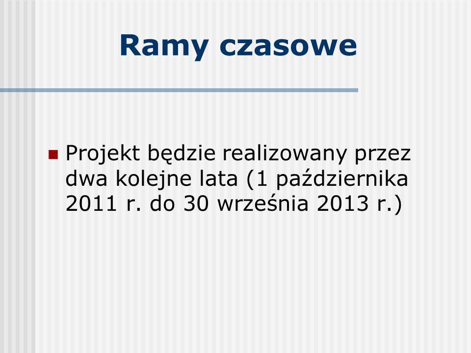 Ramy czasoweProjekt będzie realizowany przez dwa kolejne lata (1 października 2011 r.