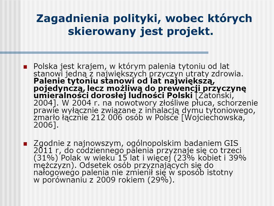 Zagadnienia polityki, wobec których skierowany jest projekt.