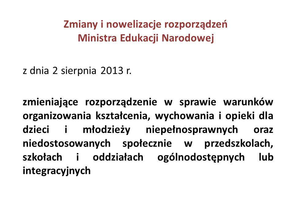 Zmiany i nowelizacje rozporządzeń Ministra Edukacji Narodowej