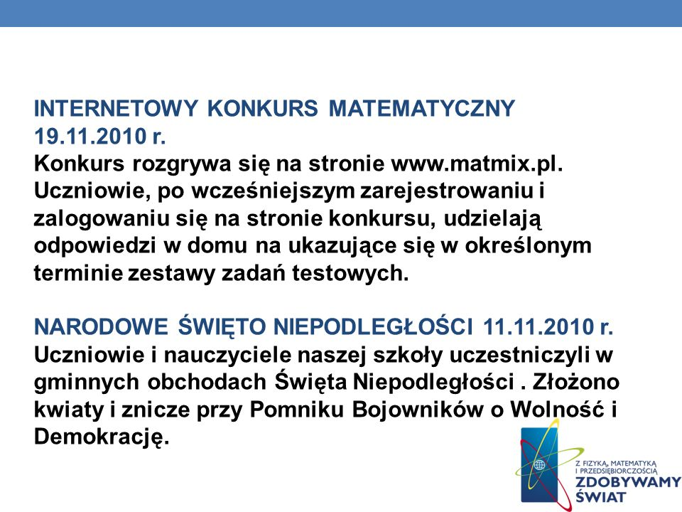 INTERNETOWY KONKURS MATEMATYCZNY 19. 11. 2010 r