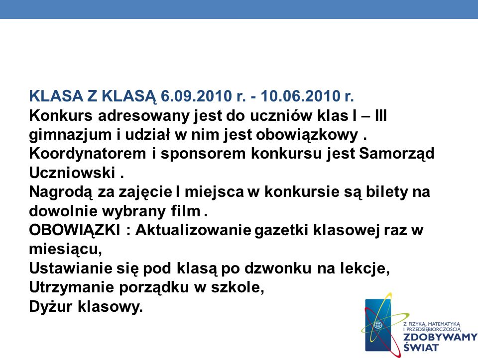 KLASA Z KLASĄ 6.09.2010 r.
