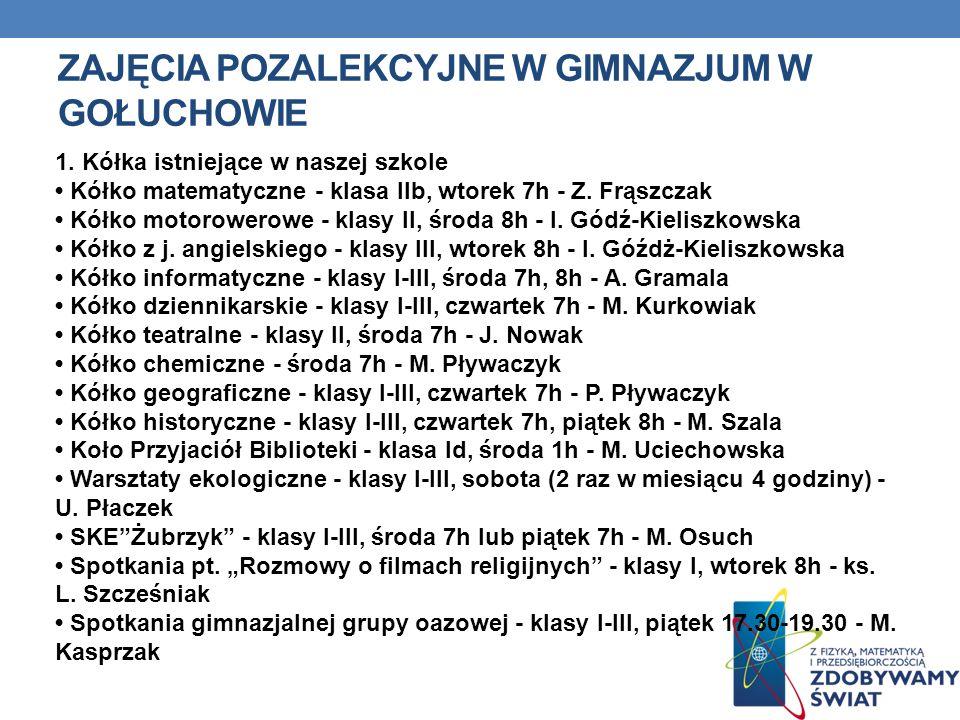 Zajęcia pozalekcyjne w gimnazjum w gołuchowie