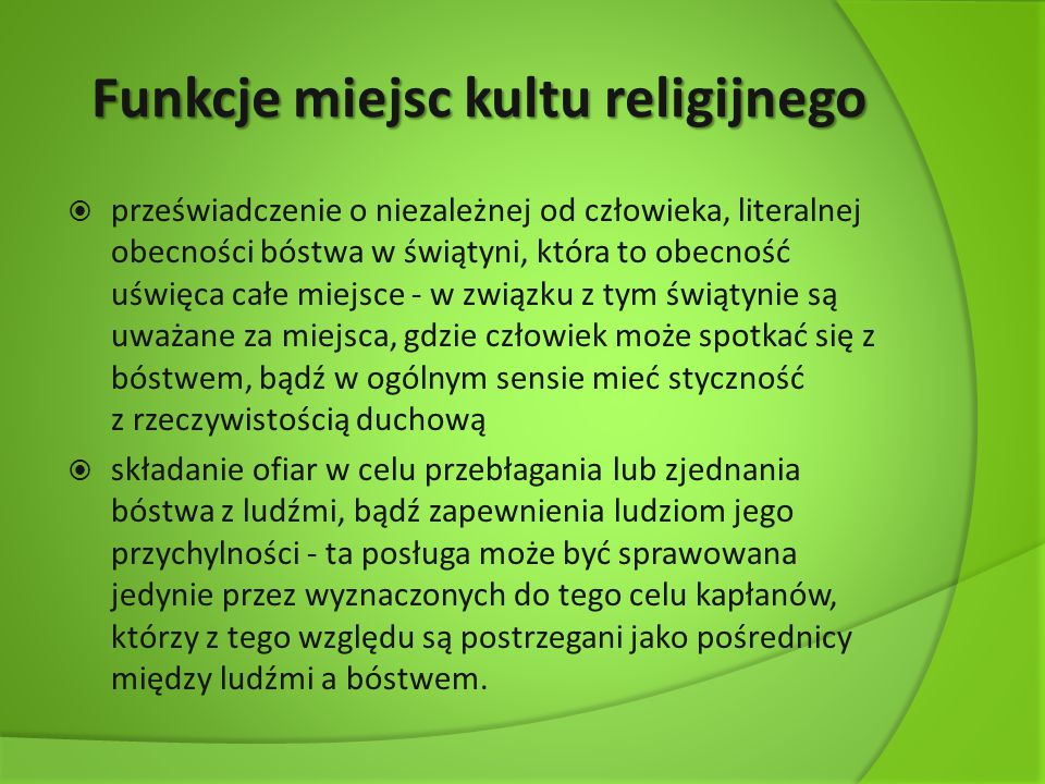 Funkcje miejsc kultu religijnego