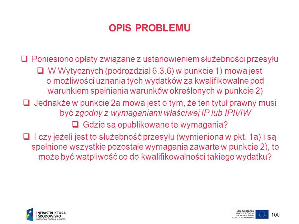 OPIS PROBLEMU Poniesiono opłaty związane z ustanowieniem służebności przesyłu.