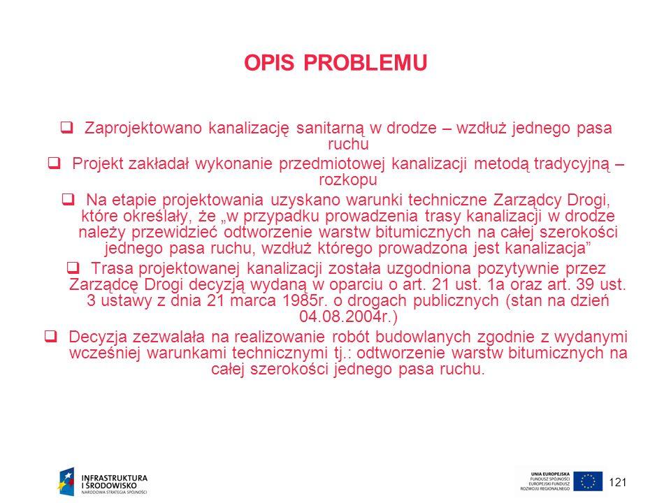 OPIS PROBLEMU Zaprojektowano kanalizację sanitarną w drodze – wzdłuż jednego pasa ruchu.