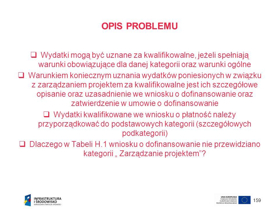 OPIS PROBLEMU Wydatki mogą być uznane za kwalifikowalne, jeżeli spełniają warunki obowiązujące dla danej kategorii oraz warunki ogólne.