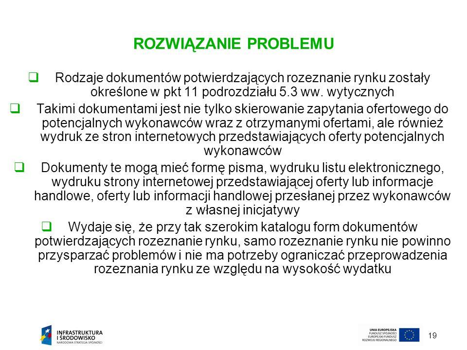 ROZWIĄZANIE PROBLEMU Rodzaje dokumentów potwierdzających rozeznanie rynku zostały określone w pkt 11 podrozdziału 5.3 ww. wytycznych.
