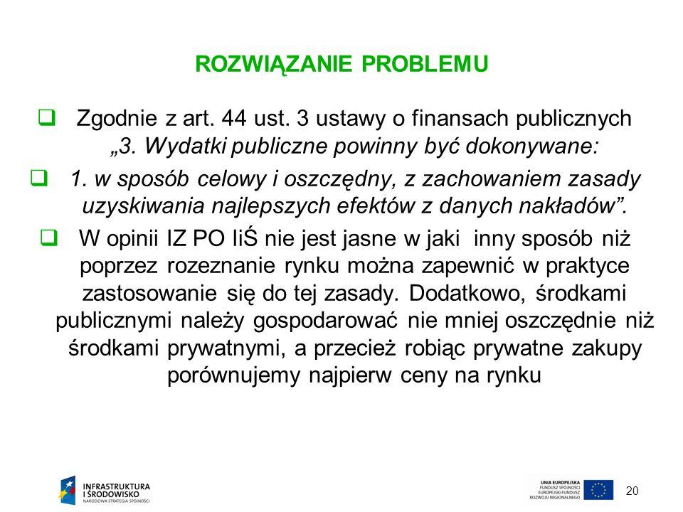 """ROZWIĄZANIE PROBLEMU Zgodnie z art. 44 ust. 3 ustawy o finansach publicznych """"3. Wydatki publiczne powinny być dokonywane:"""
