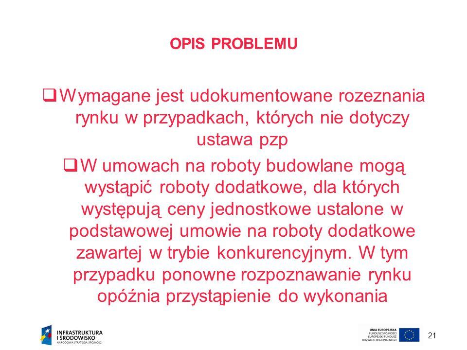 OPIS PROBLEMUWymagane jest udokumentowane rozeznania rynku w przypadkach, których nie dotyczy ustawa pzp.