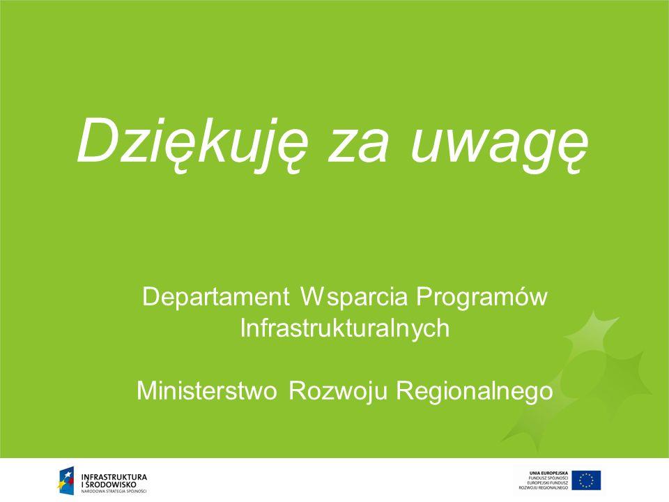 Dziękuję za uwagę Departament Wsparcia Programów Infrastrukturalnych Ministerstwo Rozwoju Regionalnego.