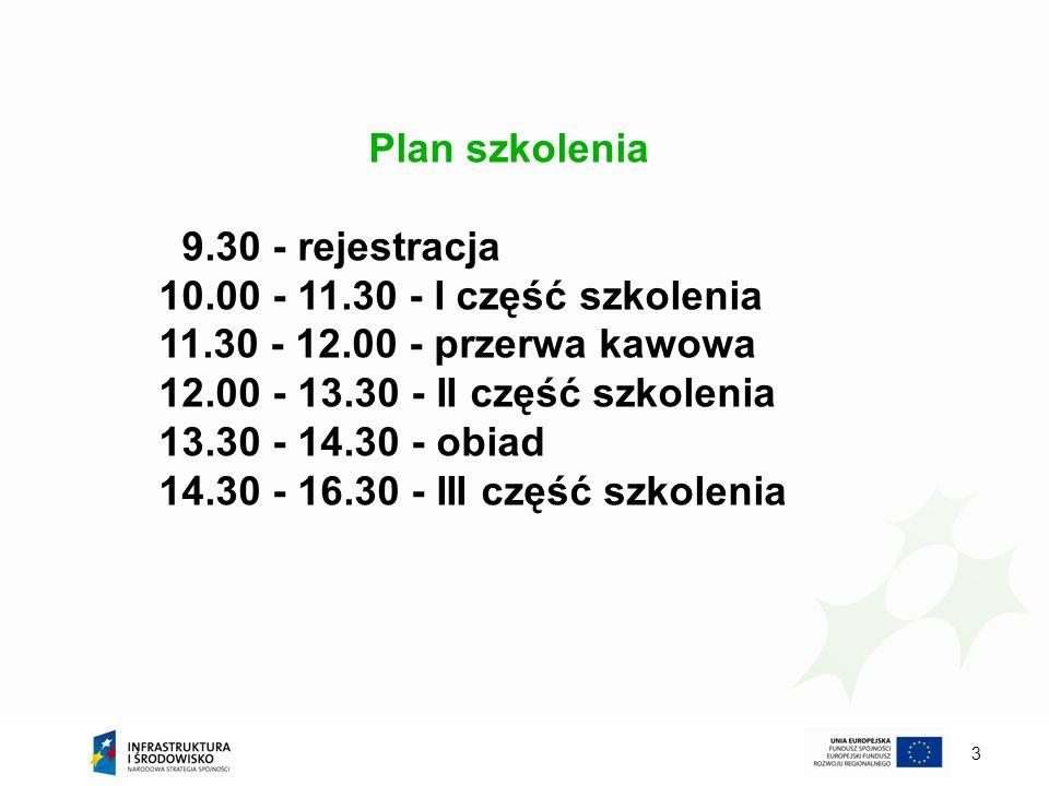 Plan szkolenia 9.30 - rejestracja 10.00 - 11.30 - I część szkolenia