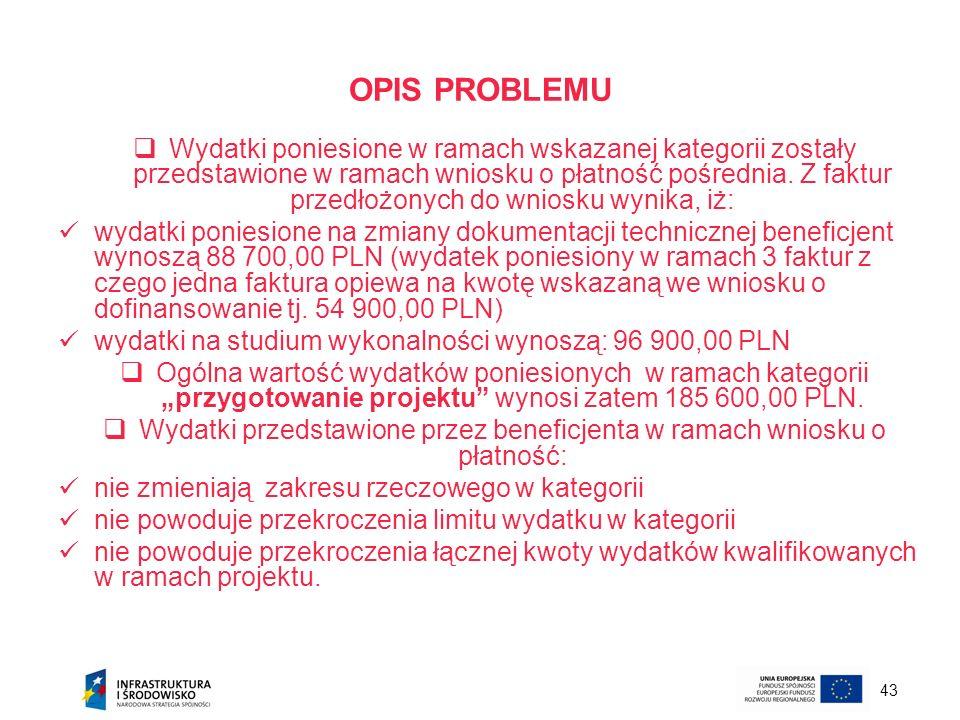 Wydatki przedstawione przez beneficjenta w ramach wniosku o płatność: