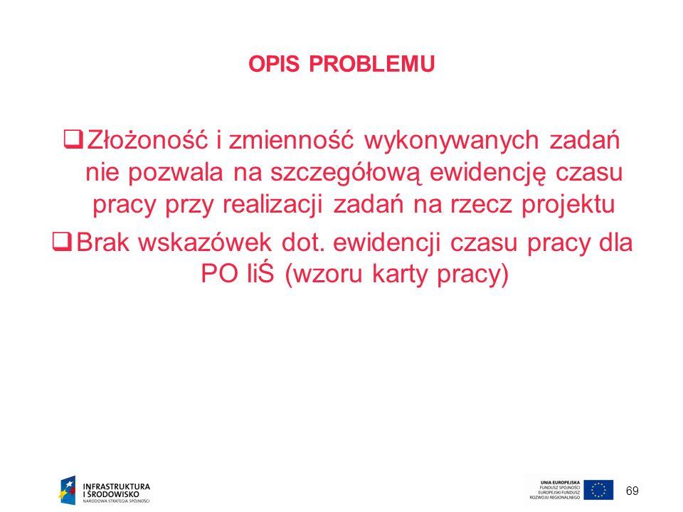 OPIS PROBLEMU Złożoność i zmienność wykonywanych zadań nie pozwala na szczegółową ewidencję czasu pracy przy realizacji zadań na rzecz projektu.