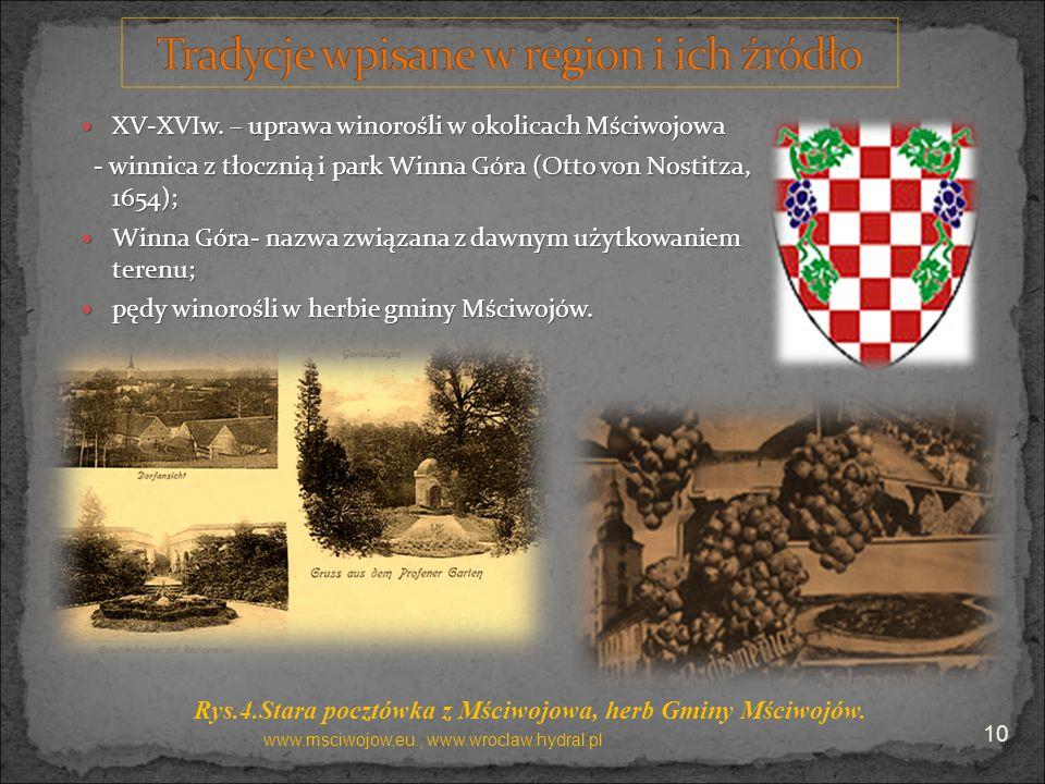 XV-XVIw. – uprawa winorośli w okolicach Mściwojowa