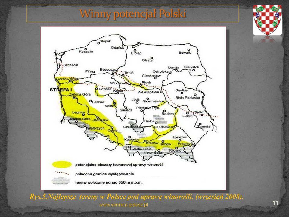 Rys.5.Najlepsze tereny w Polsce pod uprawę winorośli. (wrzesień 2008).