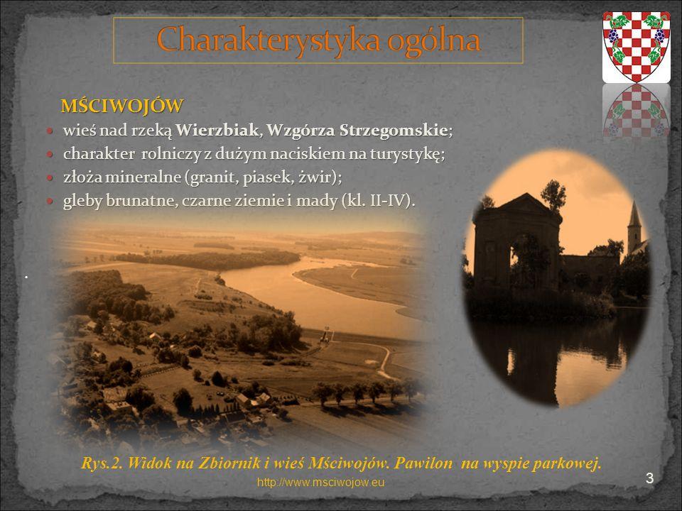 MŚCIWOJÓW wieś nad rzeką Wierzbiak, Wzgórza Strzegomskie;