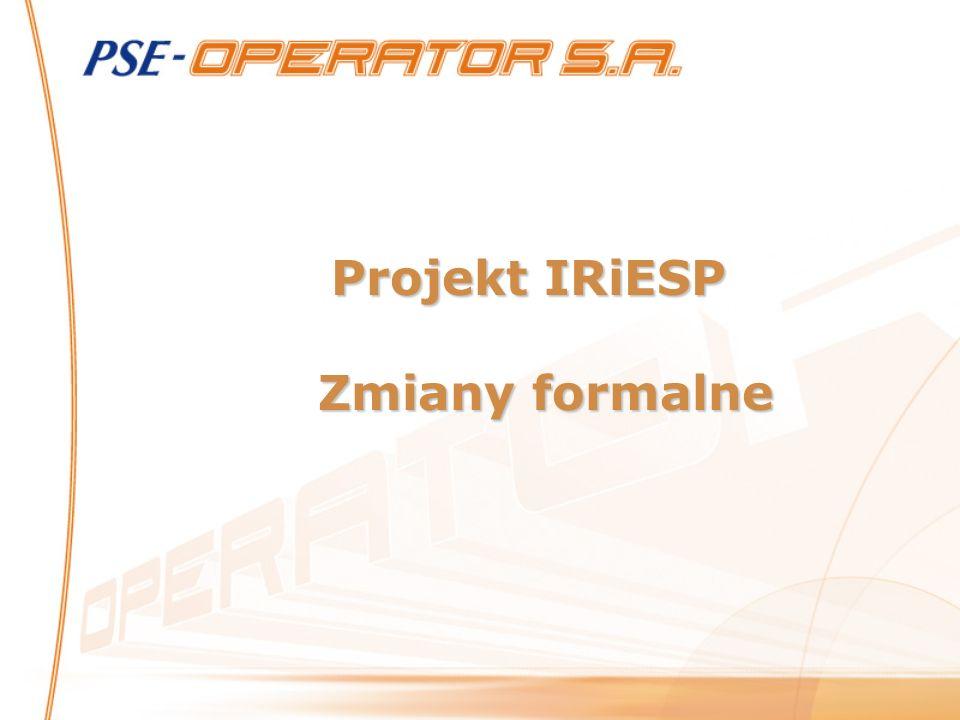 Projekt IRiESP Zmiany formalne