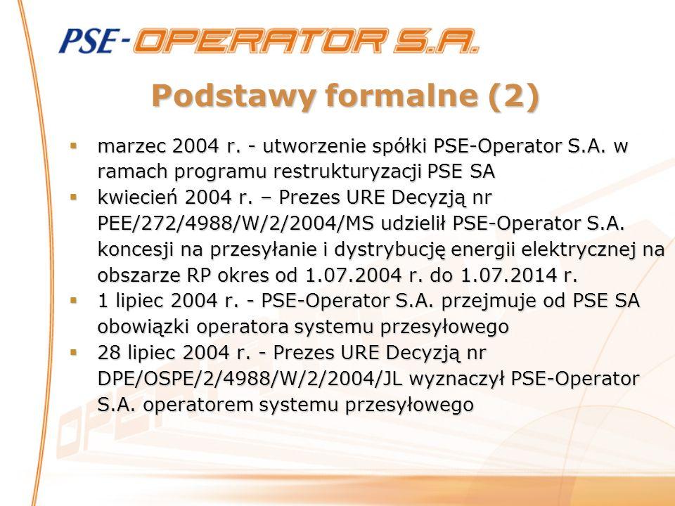 Podstawy formalne (2) marzec 2004 r. - utworzenie spółki PSE-Operator S.A. w ramach programu restrukturyzacji PSE SA.