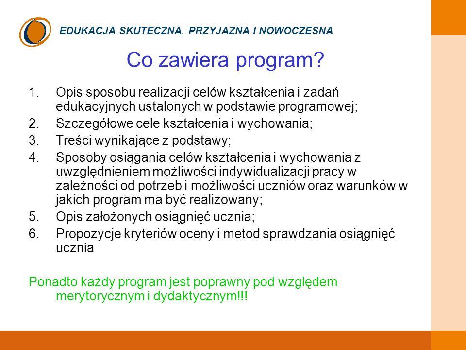 Co zawiera program Opis sposobu realizacji celów kształcenia i zadań edukacyjnych ustalonych w podstawie programowej;