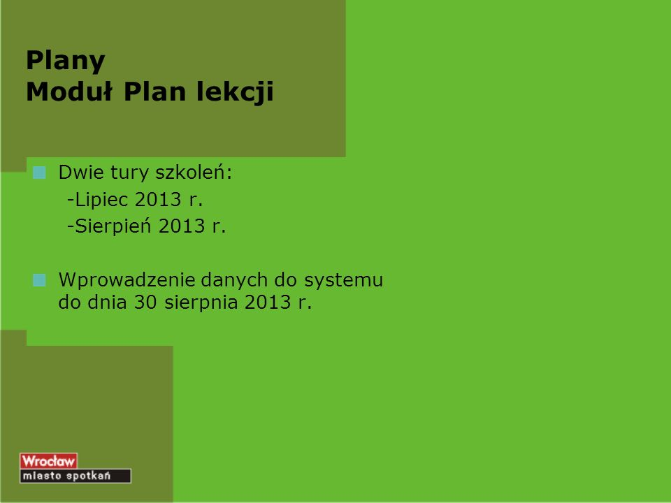 Plany Moduł Plan lekcji