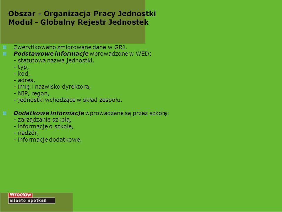 Obszar - Organizacja Pracy Jednostki Moduł - Globalny Rejestr Jednostek