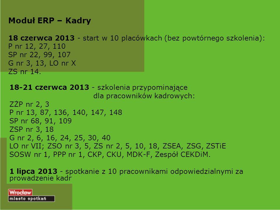 Moduł ERP – Kadry 18 czerwca 2013 - start w 10 placówkach (bez powtórnego szkolenia): P nr 12, 27, 110 SP nr 22, 99, 107 G nr 3, 13, LO nr X ZS nr 14.