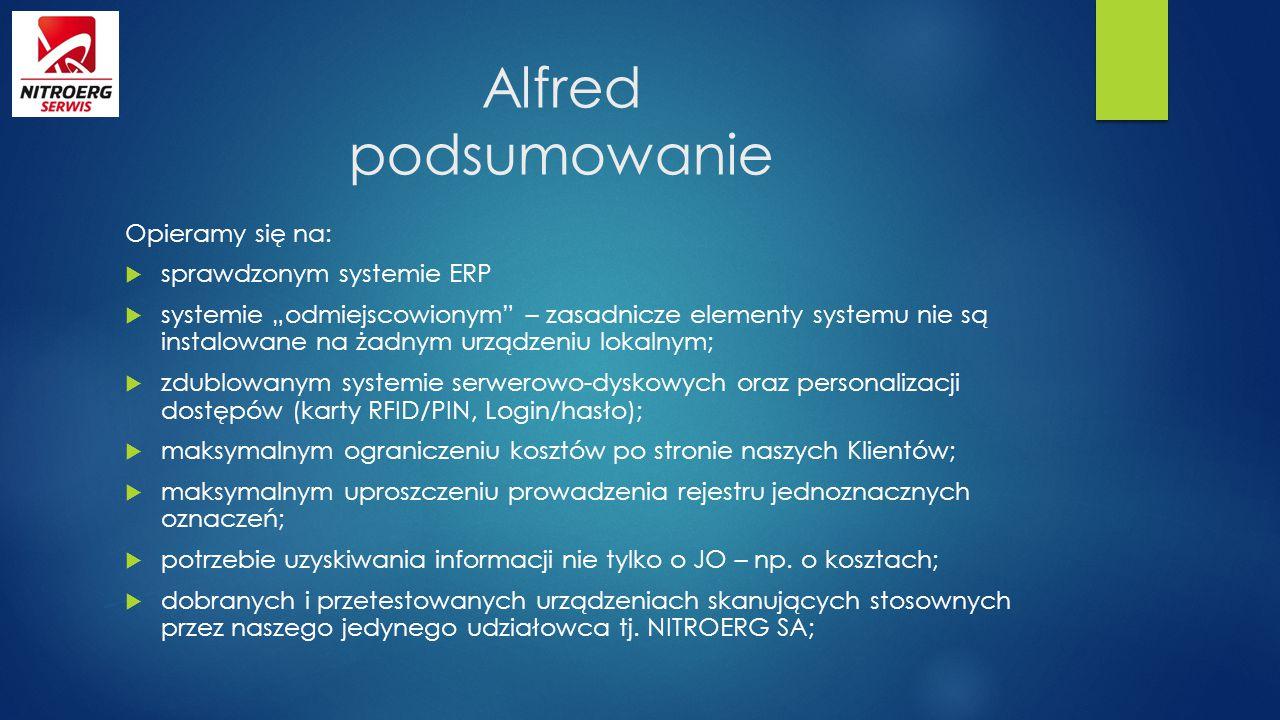 Alfred podsumowanie Opieramy się na: sprawdzonym systemie ERP