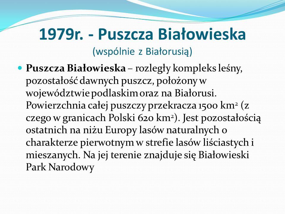 1979r. - Puszcza Białowieska (wspólnie z Białorusią)