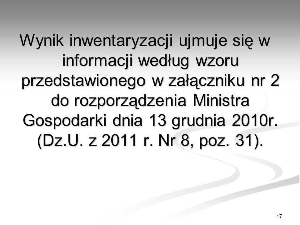 Wynik inwentaryzacji ujmuje się w informacji według wzoru przedstawionego w załączniku nr 2 do rozporządzenia Ministra Gospodarki dnia 13 grudnia 2010r.
