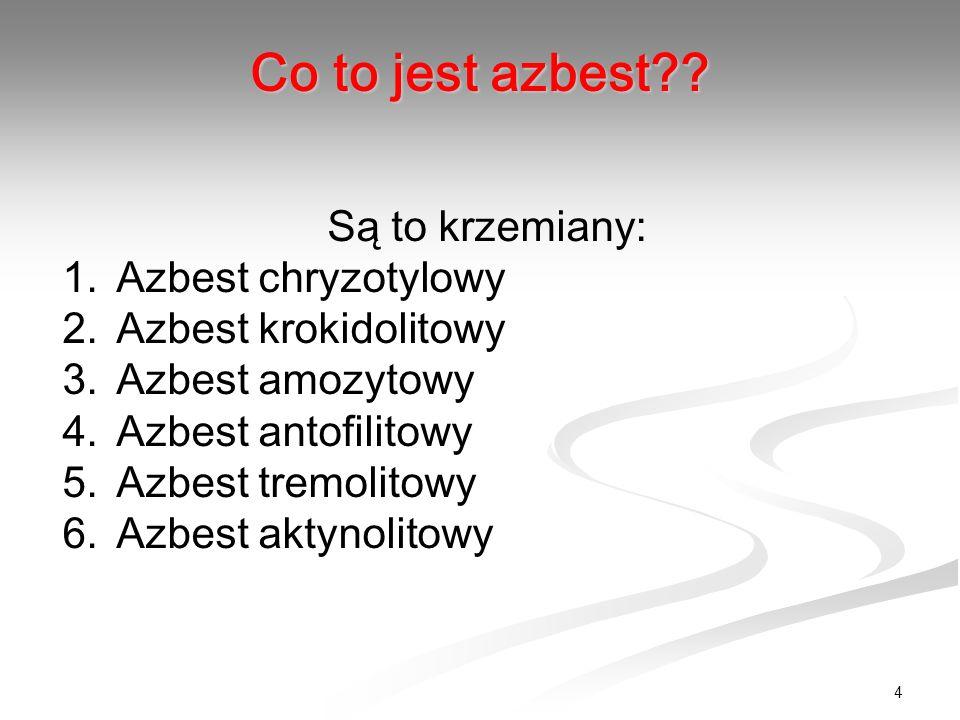 Co to jest azbest Są to krzemiany: Azbest chryzotylowy