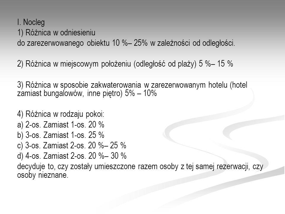 I. Nocleg 1) Różnica w odniesieniu. do zarezerwowanego obiektu 10 %– 25% w zależności od odległości.