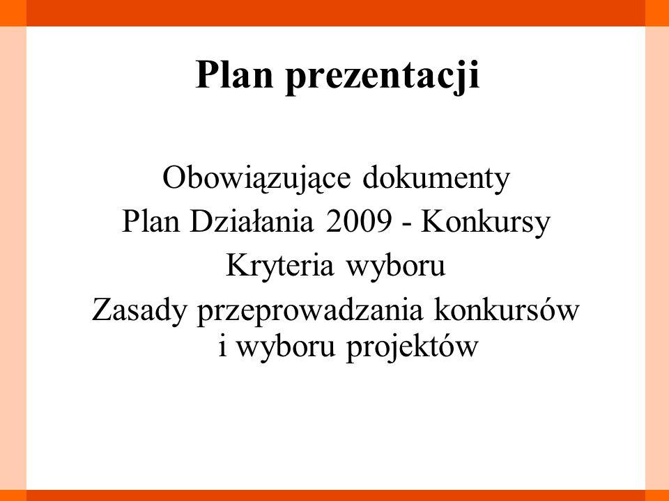 Plan prezentacji Obowiązujące dokumenty Plan Działania 2009 - Konkursy