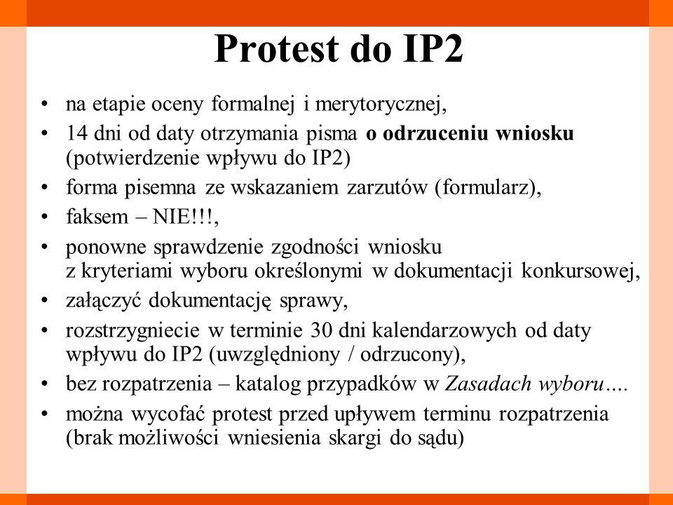 Protest do IP2 na etapie oceny formalnej i merytorycznej,