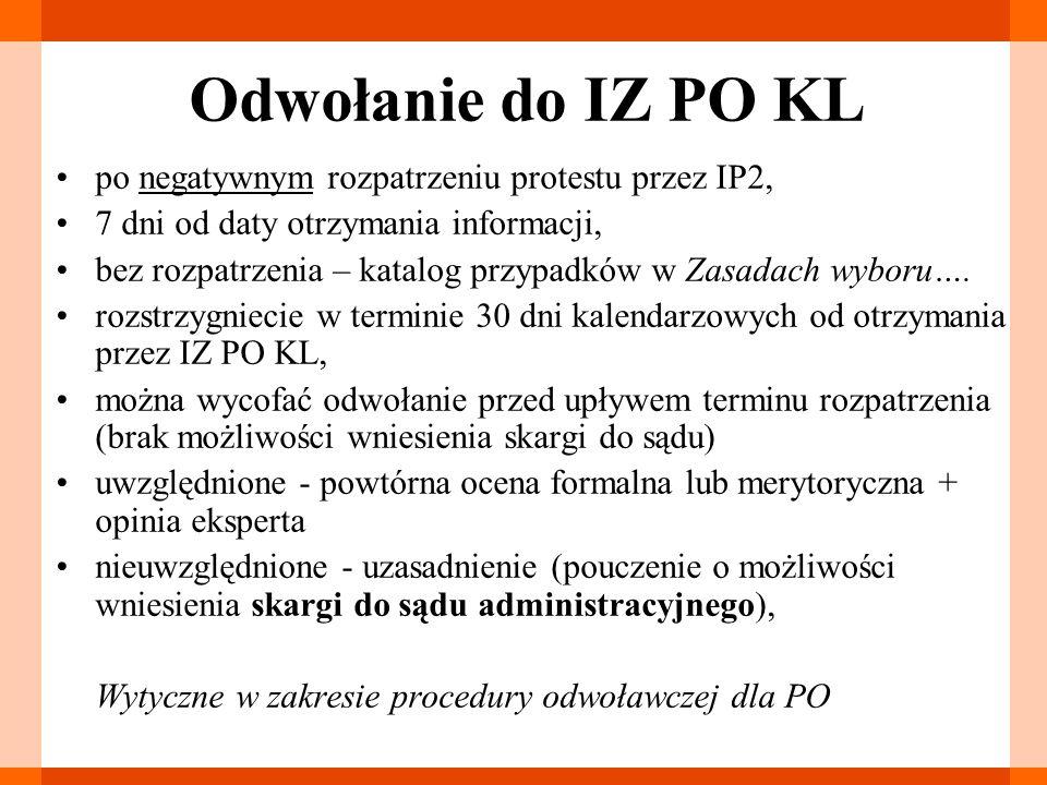 Odwołanie do IZ PO KL po negatywnym rozpatrzeniu protestu przez IP2,