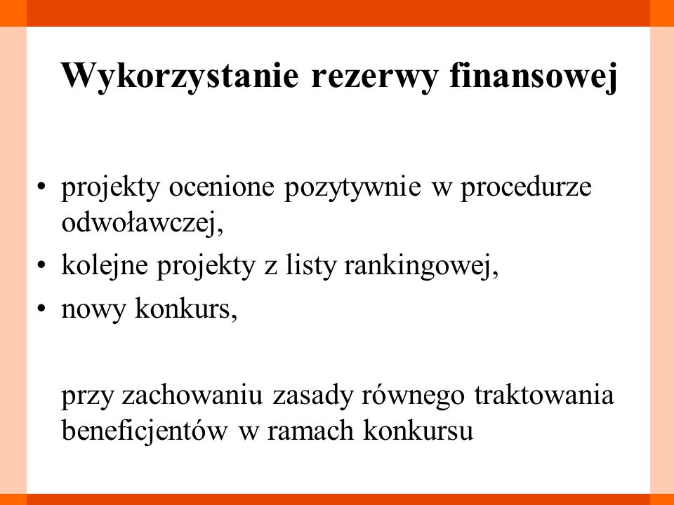 Wykorzystanie rezerwy finansowej