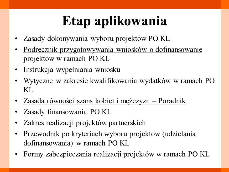 Etap aplikowania Zasady dokonywania wyboru projektów PO KL