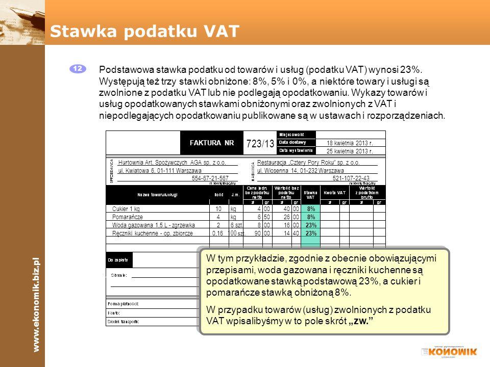 Stawka podatku VAT 12.