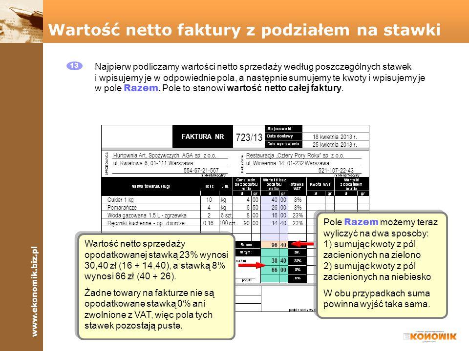 Wartość netto faktury z podziałem na stawki
