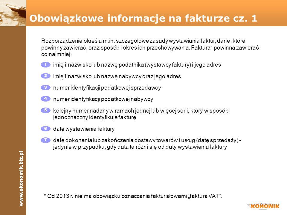Obowiązkowe informacje na fakturze cz. 1