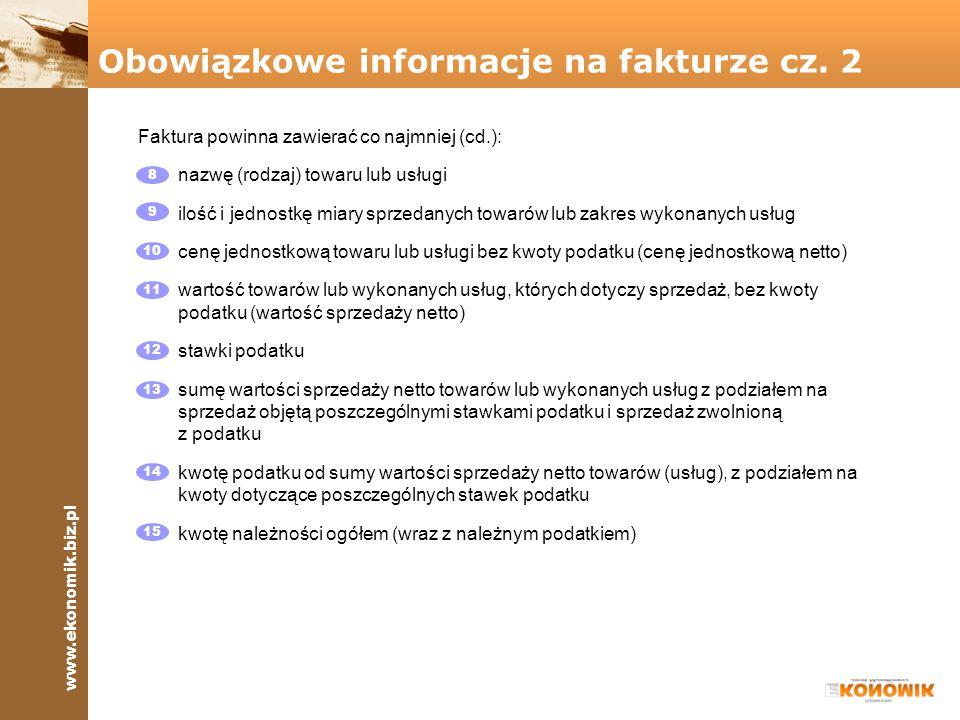 Obowiązkowe informacje na fakturze cz. 2
