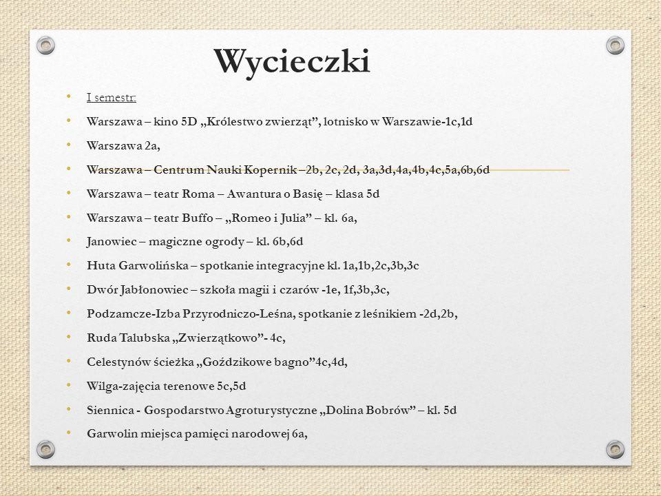"""Wycieczki I semestr: Warszawa – kino 5D """"Królestwo zwierząt , lotnisko w Warszawie-1c,1d. Warszawa 2a,"""