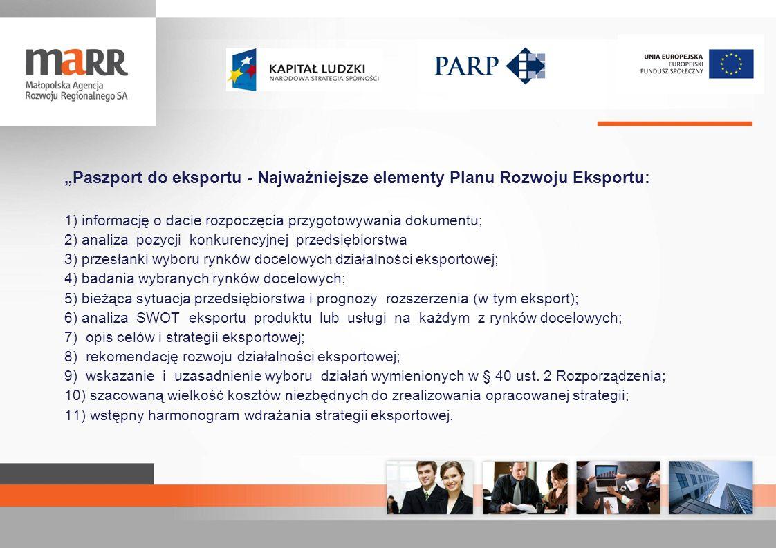 """""""Paszport do eksportu - Najważniejsze elementy Planu Rozwoju Eksportu:"""