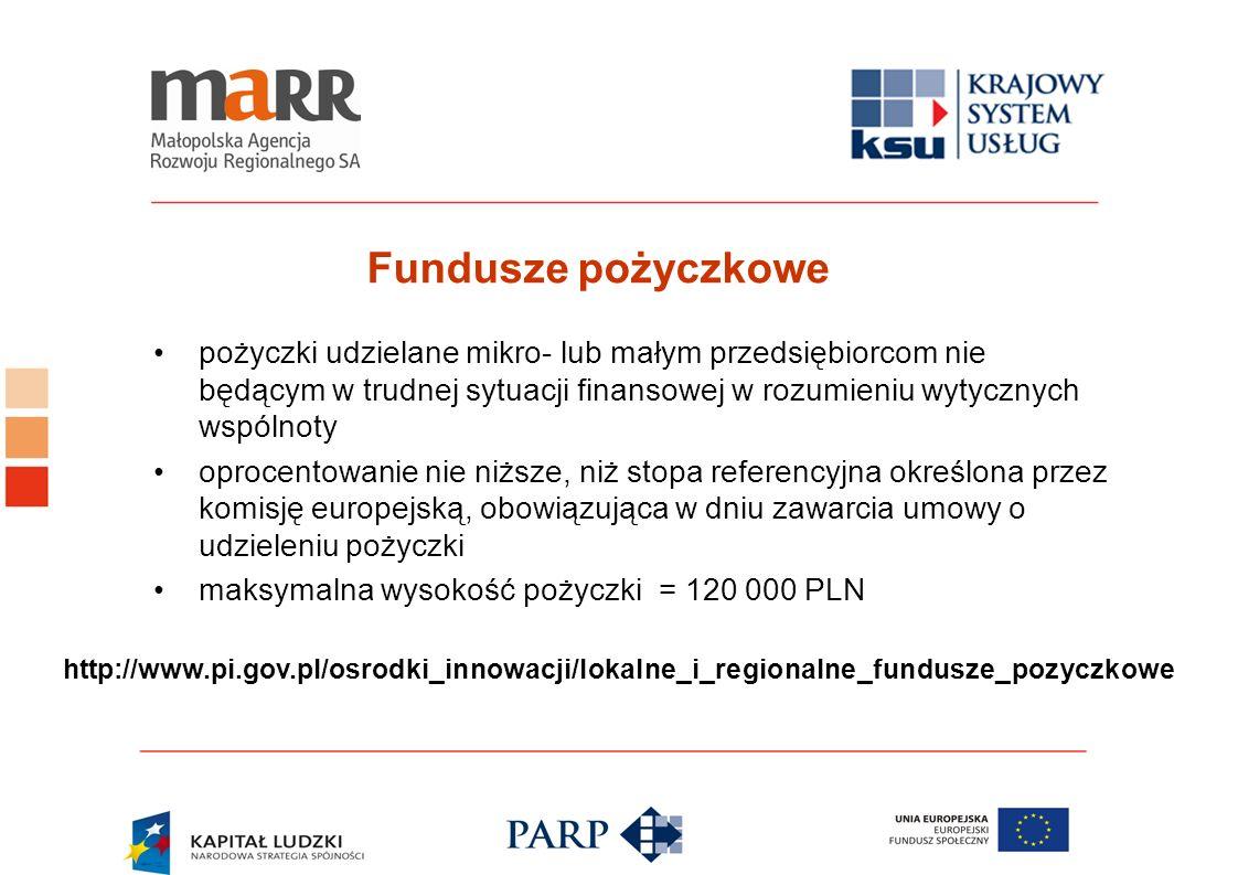 Fundusze pożyczkowe pożyczki udzielane mikro- lub małym przedsiębiorcom nie będącym w trudnej sytuacji finansowej w rozumieniu wytycznych wspólnoty.