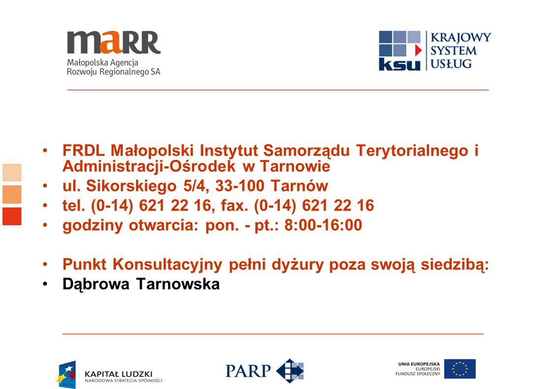 FRDL Małopolski Instytut Samorządu Terytorialnego i Administracji-Ośrodek w Tarnowie